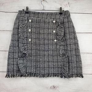 Shein Plaid Tweed Faux Pearl Raw Hem Mini Skirt